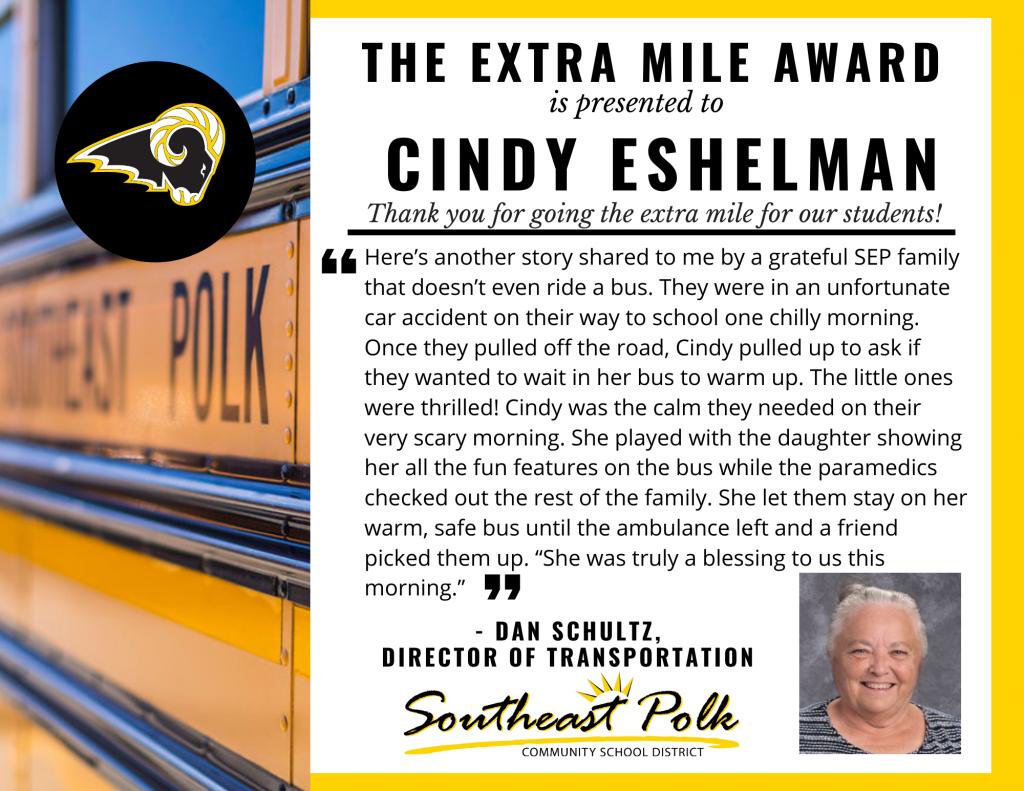 Cindy Eshelman Extra Mile (1)