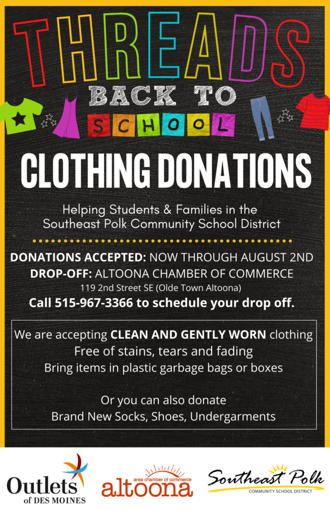 Clothing Donations for Threads Back to School Pop Up Event